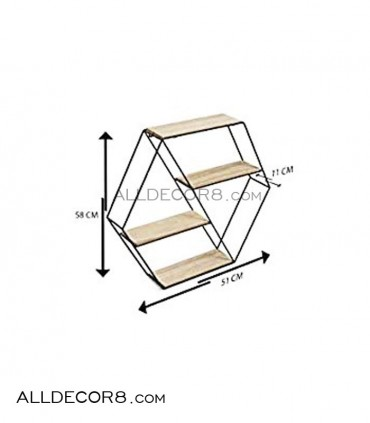 قفسه چوبی فلزی مدل شش ضلعی